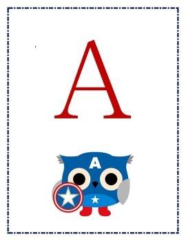Superhero Owl ABC Posters