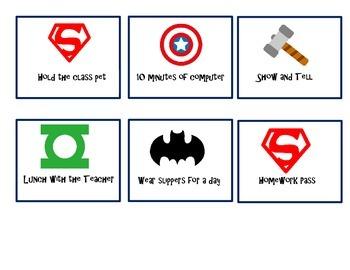 Superhero Owl Behavior Punch Cards & Reward Cards
