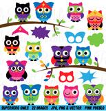 Superhero Owl Clipart Clip Art Vectors - Commercial and Personal Use