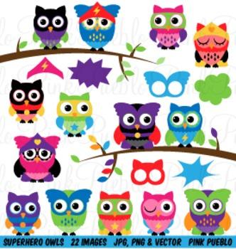 Superhero Owl Clipart Clip Art Vectors - Commercial and Pe
