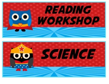 Superhero Owl Daily Schedule Cards