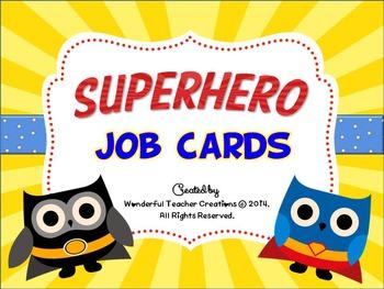Superhero Owl Job Cards