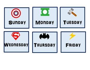 Superhero Owl Pocket Chart Calendar pieces