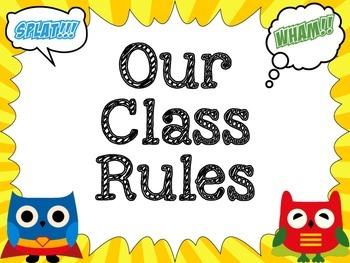 Superhero Owl Themed Class Rules