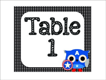 Table Signs and Desk Tags: Superhero Owl Themed