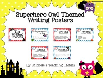 Superhero Owl Themed Writing Process Posters