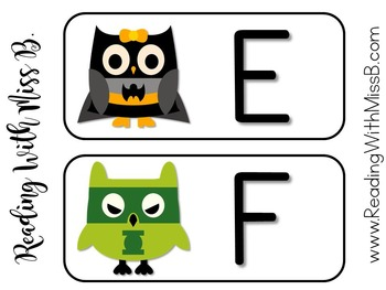 Superhero Owl Word Wall Headers w/ Editable Word Cards