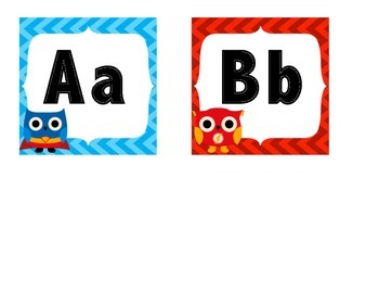 Superhero Owl Word Wall Letters or Alphabet Cards