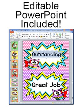 Behavior Chart - Superhero Owls Theme Clip Chart