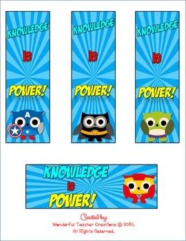 Superhero Owls Bookmarks {FREEBIE}