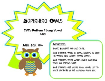 Superhero Owls CVCe/Long Vowel Activity