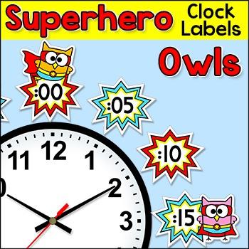 Telling Time Clock Labels - Superhero Owls Theme