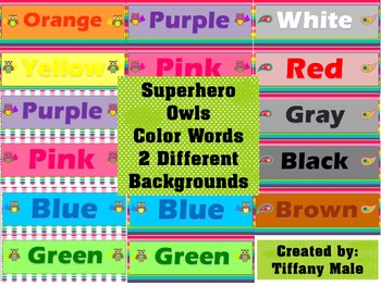 Superhero Owls Color Words