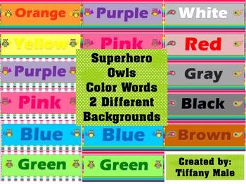 Superhero Owls Color Words