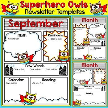 Superhero Owls Theme Newsletter Template By Pink Cat Studio Tpt