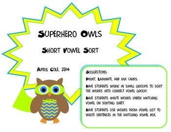 Superhero Owls Short Vowel Sort