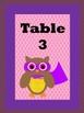 Superhero Owls Table Cards