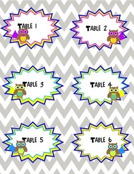 Superhero Owls Table Labels