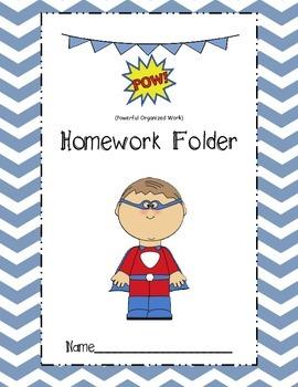 Superhero POW homework folder