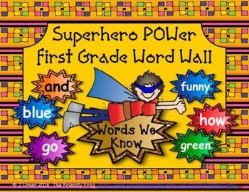Superhero POWer First Grade Word Wall