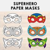 Superhero Paper Masks - Printable hero Coloring Craft Activity Costume Template