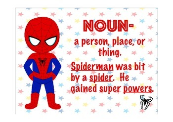 Superhero Parts of Speech Anchor Charts