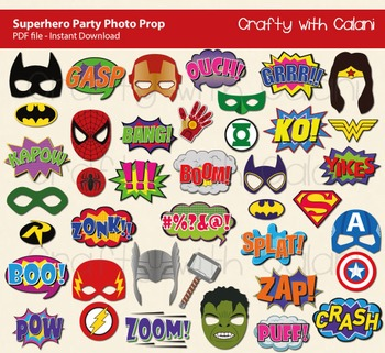 Superhero Party Photo Booth Props Printable - 40 Ready To Print Images