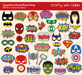 Superhero Party Photo Booth Props Printable - 40 Ready To