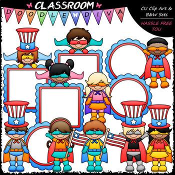 Superhero Patriotic Kids - Clip Art & B&W Set