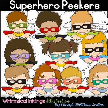 Superhero Peekers Clipart Collection