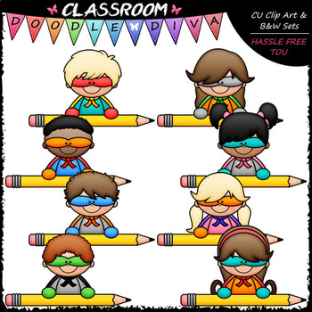 superhero pencil topper kids clip art b w set by classroom rh teacherspayteachers com Gluten Free Turkey Gravy Recipe No Hassle