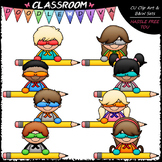 Superhero Pencil Topper Kids - Clip Art & B&W Set