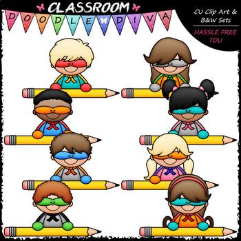 Superhero Pencil Topper Kids - Clip Art & B&W Set