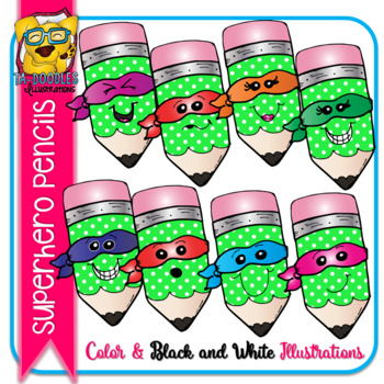 Superhero Pencils (Polka Dot) Commercial Use Clipart - Color and Black & White