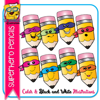 Superhero Pencils (Yellow) Commercial Use Clipart - Color and Black & White
