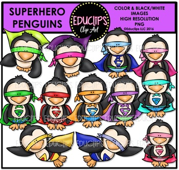 Superhero Penguins Clip Art Bundle {Educlips Clipart}