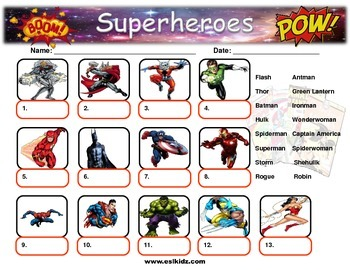 Superhero Picture identification worksheet