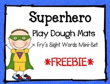 Superhero Play Dough Mats for Fry's Sight Words Mini Pack