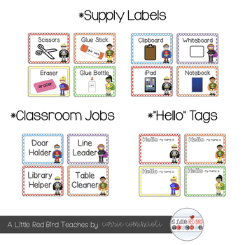 Superhero Polka Dot Theme Classroom Decor {Editable}