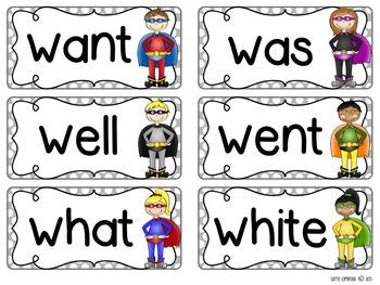 Superhero Polka Dot Word Wall Packet and Assessments {Editable}