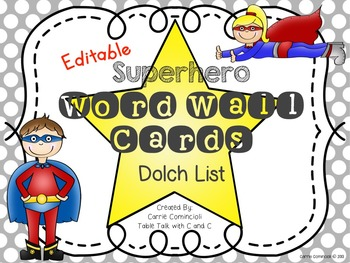 Superhero Polka Dot Word Wall Packet and Assessments {Editable}