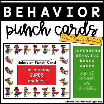 Superhero Positive Behavior Punch Cards