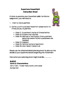 Computer Activity-Create a PowerPoint Introducing a New Superhero!