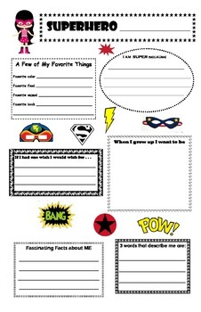 All About Me Superhero Profile Poster (back to school)