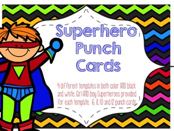 Superhero Reward Punch Cards