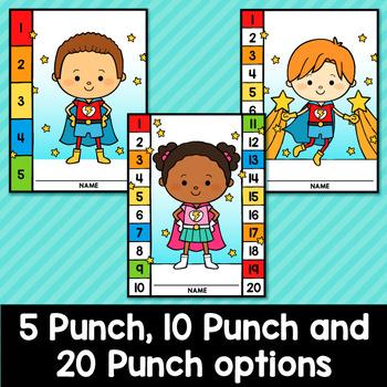 Superhero Punch Cards Editable Classroom Decor