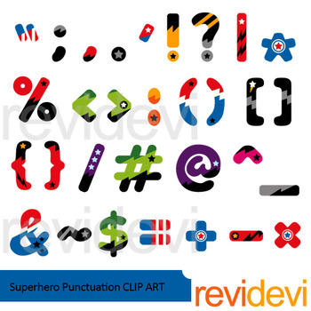 Superhero Punctuation Clip art