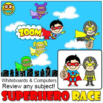 Superhero Race Review Game for Smartboards & Computers - Test Prep