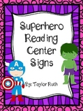 Superhero Reading Center Signs