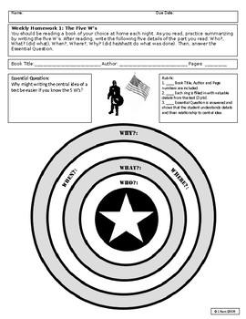 Superhero Reading HW & Activity Sheet #1: 5 W's